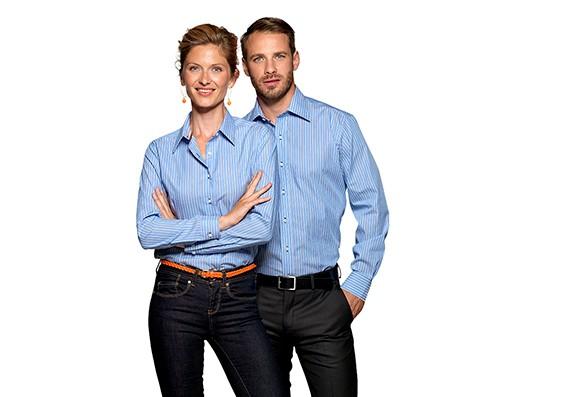 Team-Berufsbekleidung Büro - Hemd und Bluse gestreift