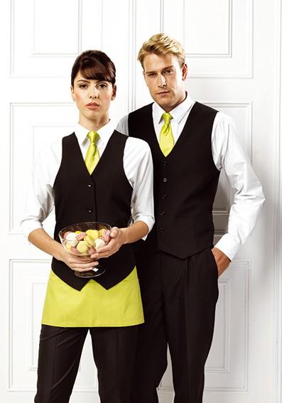 Krawatte-und Schürze-unifarben-Weste-schwarz