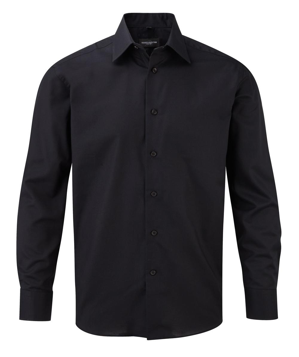Oxford Hemd schwarz langarm taillietr