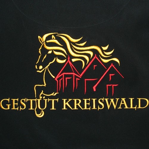Farbig gesticktes Logo im Vollformat